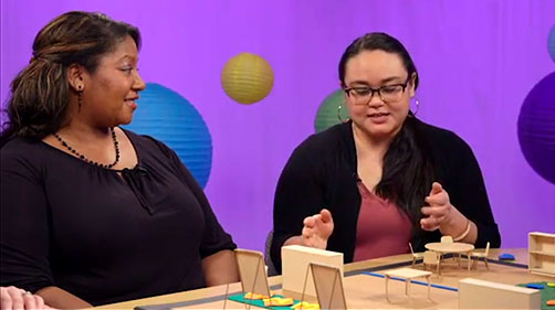 Hosts Dawn and Kristin speak with a show guest about setting up classroom furniture with a mini model set