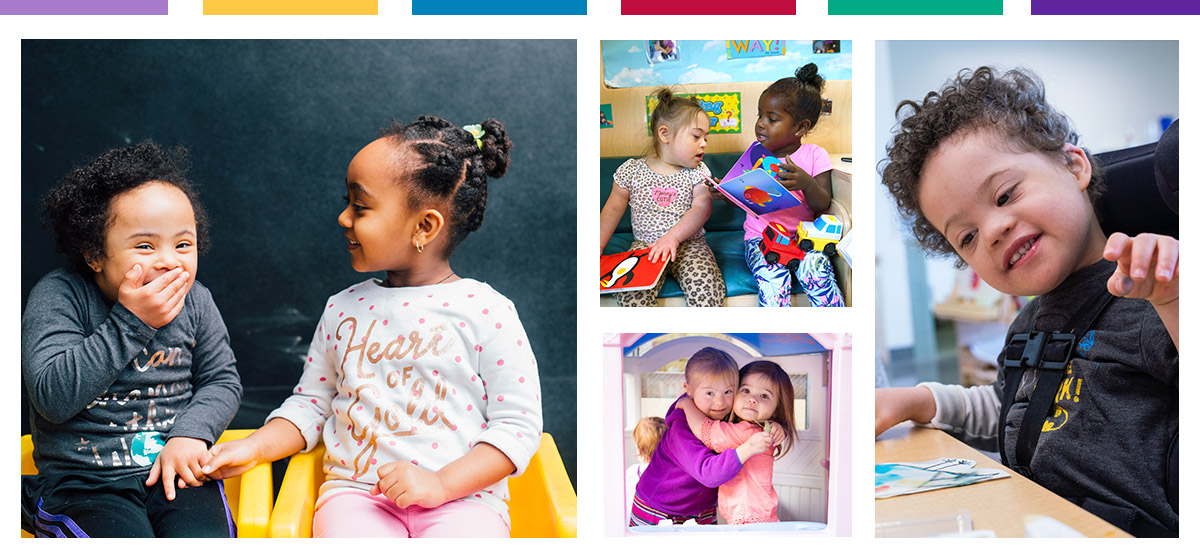 Collage of children learning and playing together